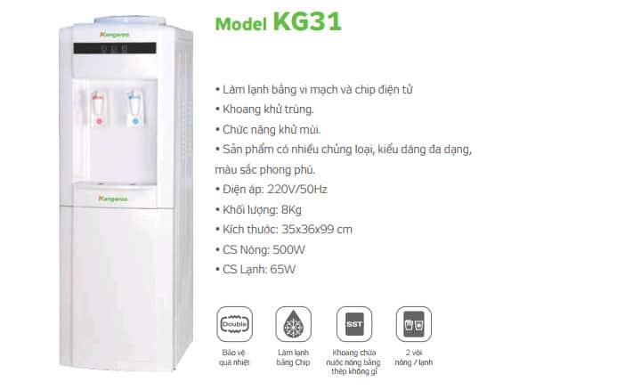 Thông tin cây nước nóng lạnh Kangaroo KG31